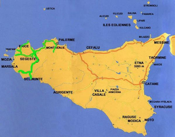 Voici la carte de la sicile et le parcours (en vert) que nous avons