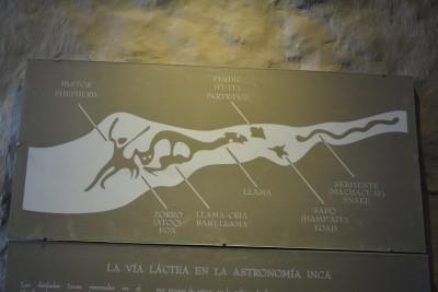 et son explication, le serpent, le puma qui représente Cuzco, le crapeau...