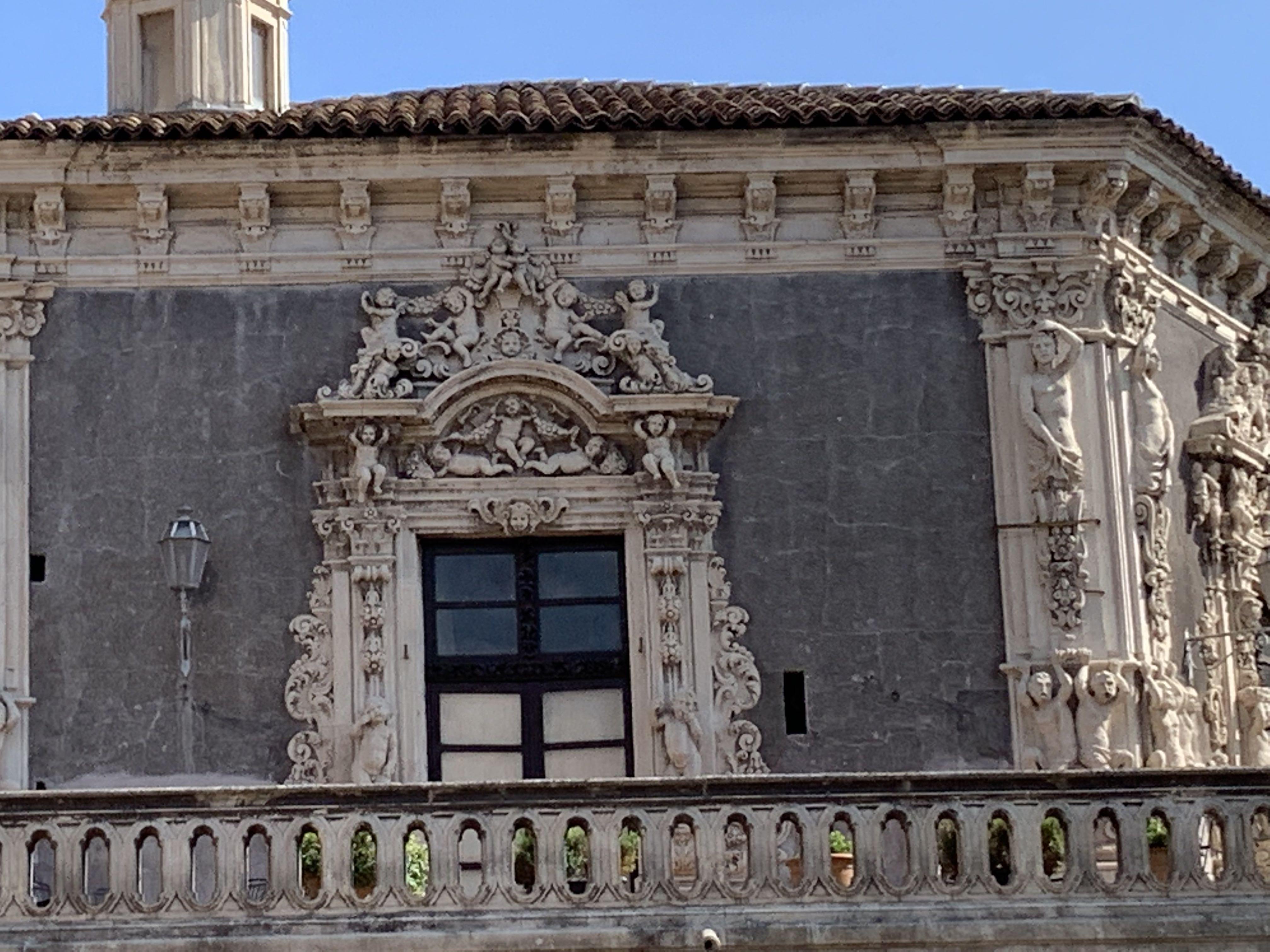 Détail d'une fenêtre du Palazzo Biscari